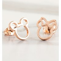 Rose Gold Plated Disney Mickey and Minnie Mismatched Stud Earrings - Jewellery Gifts