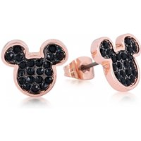 Rose Gold Plated Mickey Mouse Black Crystal Stud Earrings from Disney by Couture Kingdom - Disney Jewellery Gifts