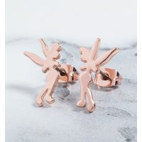 Rose Gold Plated Tinker Bell Silhouette Stud Earrings - Disney Jewellery Gifts