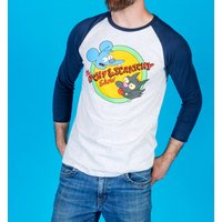 The Simpsons Itchy and Scratchy Grey and Navy Baseball T-Shirt - Baseball Gifts