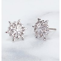 White Gold Frozen Snowflake Stud Earrings from Disney by Couture Kingdom - Disney Jewellery Gifts