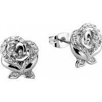 White Gold Plated Beauty & The Beast Enchanted Rose Crystal Stud Earrings from Disney Couture - Disney Jewellery Gifts