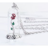 White Gold Plated Beauty & The Beast Enchanted Rose Dome Necklace from Disney Couture - Disney Jewellery Gifts