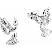 White Gold Plated Beauty & The Beast Lumiere Stud Earrings from Disney by Couture Kingdom - Disney Jewellery Gifts