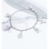 White Gold Plated Beauty & The Beast Characters Charm Bracelet - Charm Bracelet Gifts