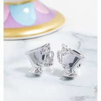 White Gold Plated Beauty & The Beast Chip Stud Earrings - Disney Jewellery Gifts
