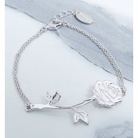 White Gold Plated Beauty & The Beast Rose Bracelet - Disney Jewellery Gifts