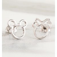 White Gold Plated Disney Mickey and Minnie Mismatched Stud Earrings - Disney Jewellery Gifts