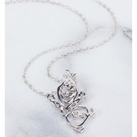 White Gold Plated Frozen Olaf Outline Necklace from Disney By Couture Kingdom - Disney Jewellery Gifts