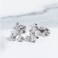 White Gold Plated Mickey Mouse Figure Stud Earrings - Disney Jewellery Gifts