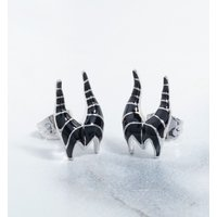 White Gold Plated Sleeping Beauty Maleficent Stud Earrings - Sleeping Beauty Gifts