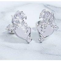 White Gold Plated The Little Mermaid Ursula Stud Earrings - Disney Jewellery Gifts