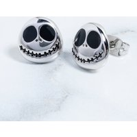 White Gold Plated The Nightmare Before Christmas Jack Skellington Stud Earrings - Nightmare Before Christmas Gifts
