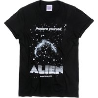 Women's Alien Retro Movie Poster Black Boyfriend Fit Rolled Sleeve T-Shirt - Retro Gifts