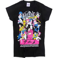 Women's Anime All Stars Fitted Black T-Shirt - Anime Gifts