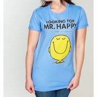 Women's Blue Looking For Mr Happy Mr Men Boyfriend T-Shirt - Mr Men Gifts