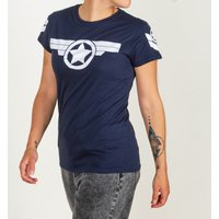 Women's Captain America Super Soldier Navy Fitted T-Shirt - America Gifts