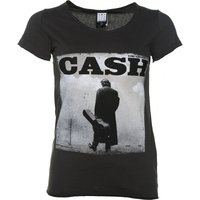 Women's Charcoal Johnny Cash Walking Legend T-Shirt from Amplified - Johnny Cash Gifts