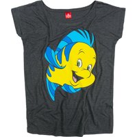 Women's Charcoal Marl Flounder The Little Mermaid Oversized T-Shirt - Mermaid Gifts