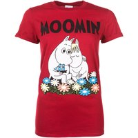Women's Classic Moomins Red Marl Boyfriend Fit T-Shirt With Rolled Sleeves - Boyfriend Gifts