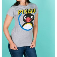 Women's Classic Pingu Grey Marl Fitted T-Shirt - Sport Gifts