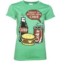 Women's Coca-Cola Pixels Heather Green Boyfriend Fit T-Shirt With Rolled Sleeves - Boyfriend Gifts