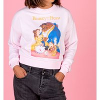 Women's Disney Beauty And The Beast Video Cover Cropped Sweater - Sweater Gifts