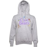 Women's Grey Marl Care Bears Logo with Badges Hoodie - Bears Gifts