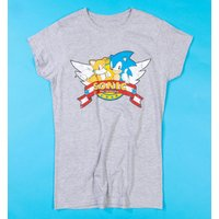 Women's Grey Marl Sonic and Tails Fitted T-Shirt - Sonic Gifts