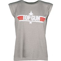 Women's Heather Khaki Top Gun Maverick Flowy T-Shirt With Rolled Cuffs - Gun Gifts