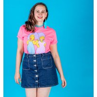 Women's Hot Pink The Simpsons Patty and Selma Rolled Sleeve Boyfriend T-Shirt - The Simpsons Gifts
