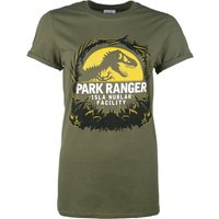 Women's Jurassic Park Isla Nublar Facility Military Green Boyfriend Fit T-Shirt With Rolled Sleeves - Boyfriend Gifts