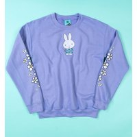 Women's Miffy Flowers Sleeve Print Violet Sweater - Sweater Gifts