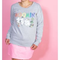 Women's Moomins Rainbow Logo Heather Grey Sweater - Sweater Gifts