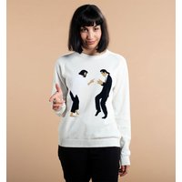 Women's Off White Knitted Pulp Fiction Dance Knitted Jumper from Dedicated - Jumper Gifts