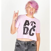 Women's Pink AC/DC Logo Crop Top - Acdc Gifts