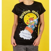 Women's Retro Button Moon Black Fitted T-Shirt - Truffleshuffle Gifts