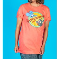 Women's The Simpsons Itchy and Scratchy Coral Pink Rolled Sleeve Boyfriend T-Shirt - The Simpsons Gifts