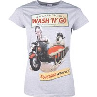 Women's Wallace And Gromit Wash N Go Sport Grey T-Shirt - Sport Gifts