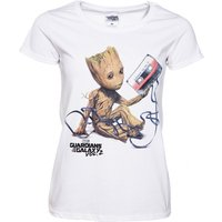 Women's White Baby Groot And Cassette Guardians Of The Galaxy T-Shirt - Guardians Of The Galaxy Gifts