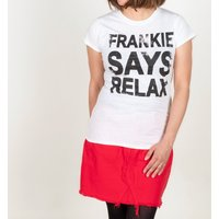Women's White Frankie Says Relax T-Shirt - Clothes Gifts