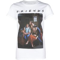 Women's White Friends Characters Rolled Sleeve T-Shirt - Truffleshuffle Gifts