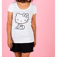 Women's White Hello Kitty Embroidered T-Shirt from Difuzed