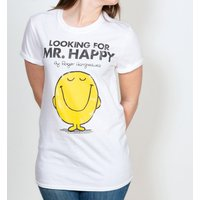 Women's White Looking For Mr Happy Mr Men Boyfriend T-Shirt - Mr Men Gifts