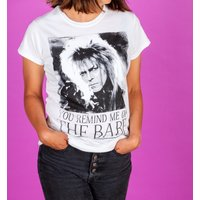 Women's White You Remind Me Of The Babe Bowie Labyrinth Fitted T-Shirt - Clothes Gifts