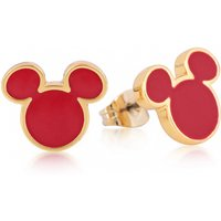 Yellow Gold Plated Mickey Mouse Red Enamel Stud Earrings from Disney by Couture Kingdom - Disney Jewellery Gifts