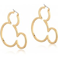 Yellow Gold Plated Mickey Mouse Silhouette Hoop Earrings from Disney by Couture Kingdom - Disney Jewellery Gifts