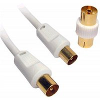 0.5m TV Aerial Cable White Gold Plated Male to Male