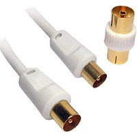50m White TV Aerial Cable Gold Plated Male to Male with Adapter sale image