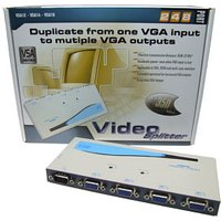 VGA Splitter 4 Port Connect a PC to 4 Monitors VSA14